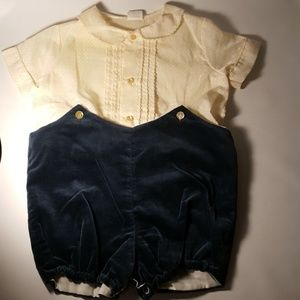 Vintage Romper Outfit Baby Boy Creme Green 1930's